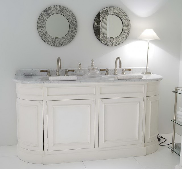 White Double Vanity With Marble Top
