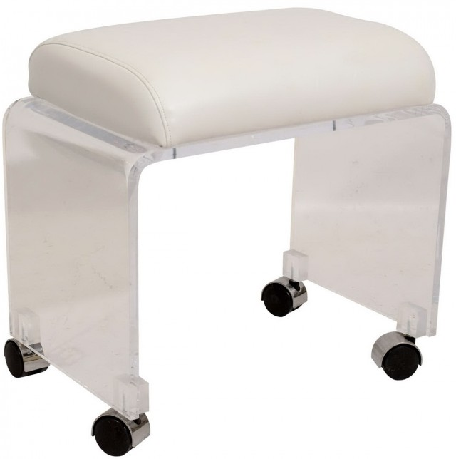White Leather Vanity Stool