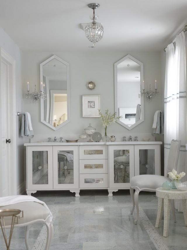White Mirrored Bathroom Vanity
