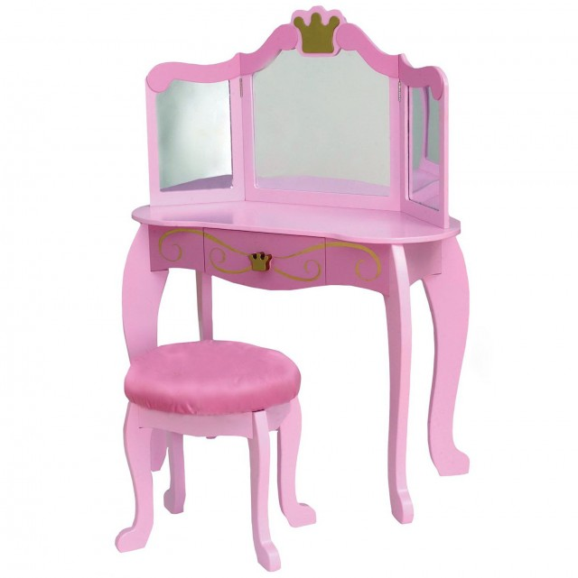 White Vanity With Pink Stool