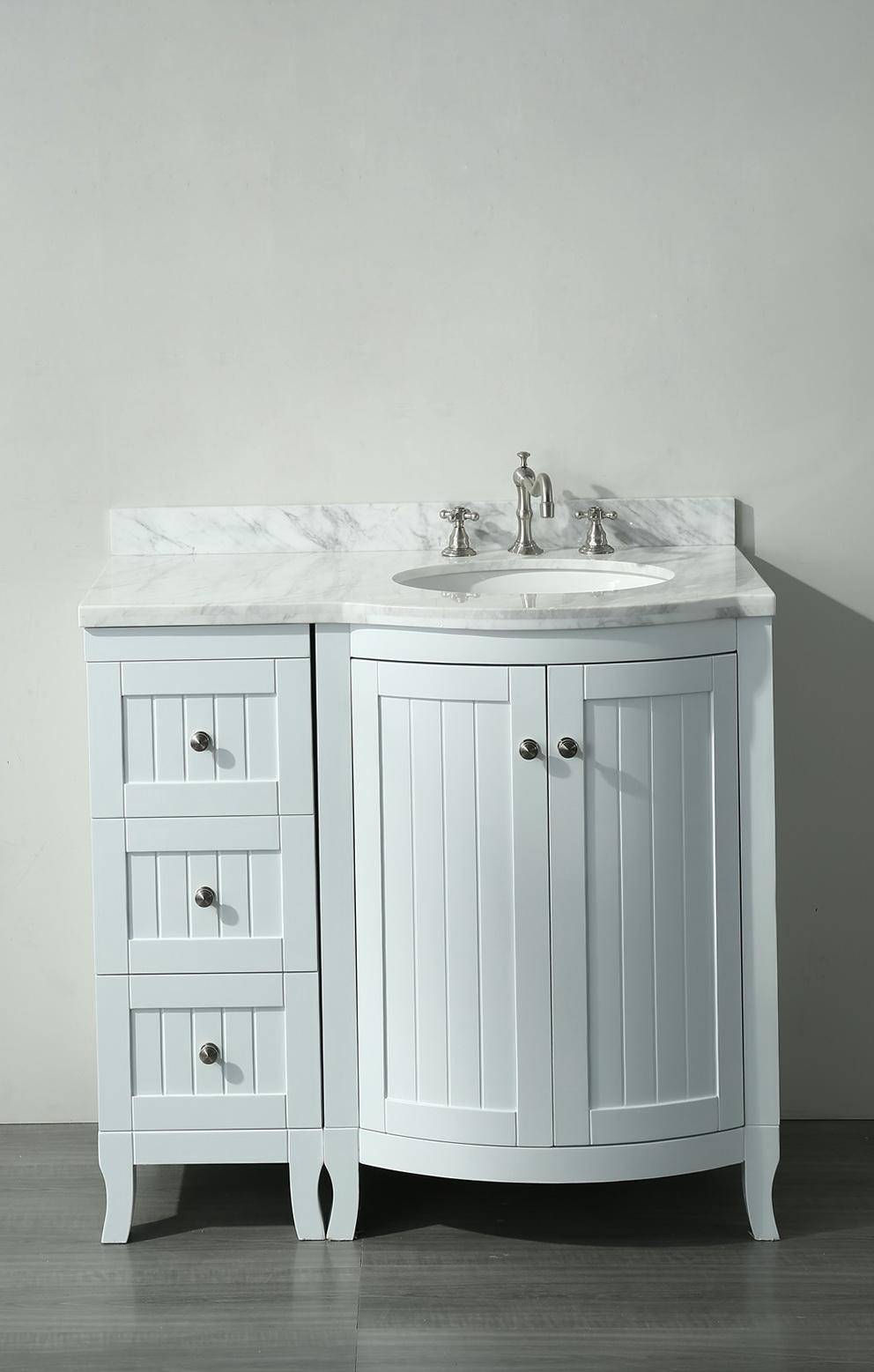 36 White Bathroom Vanity With Carrera Marble Top