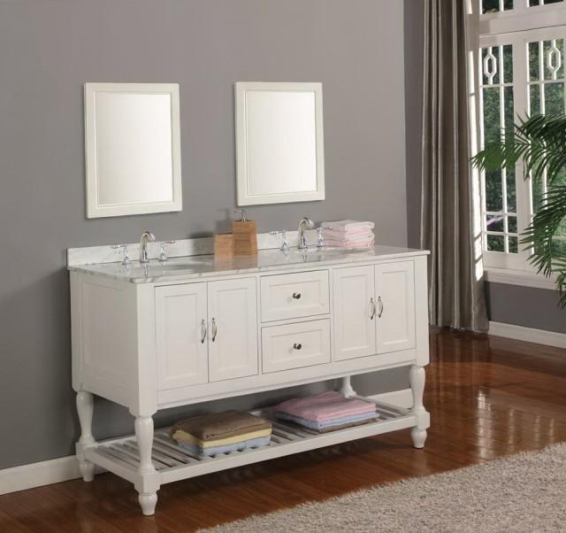 60 Bathroom Vanity Double Sink White