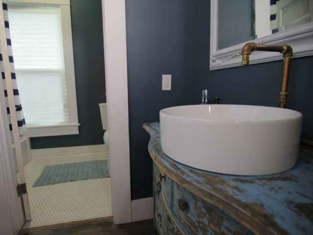 Blue Distressed Bathroom Vanity
