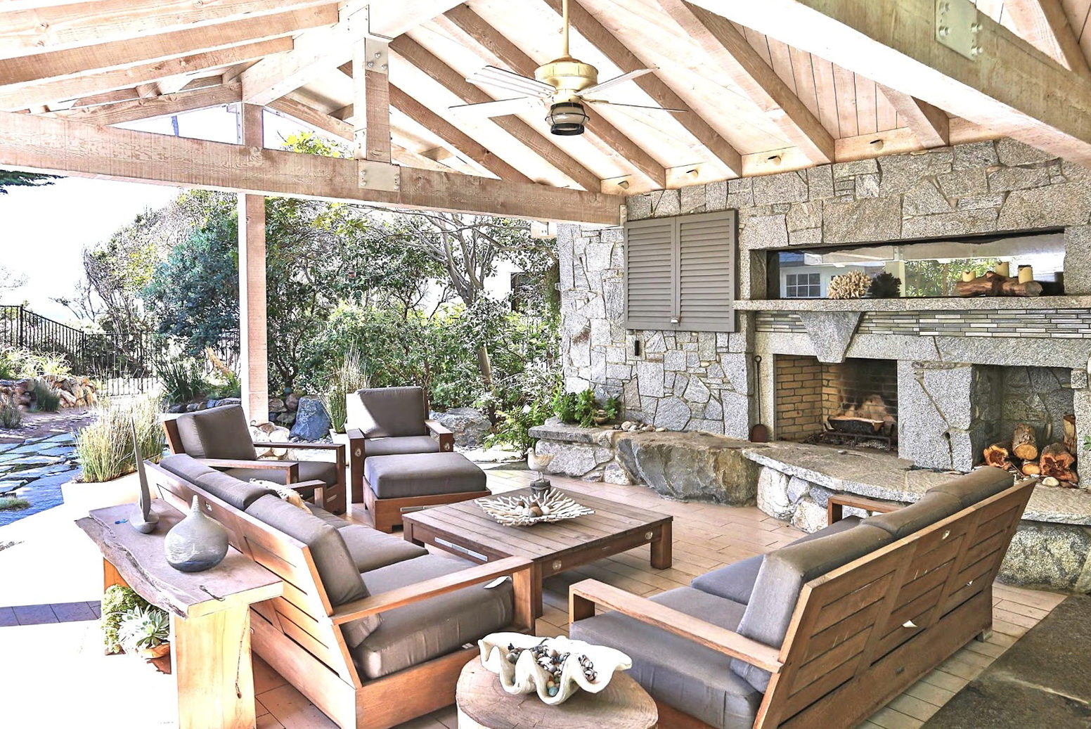 Covered Porch With Outdoor Fireplace