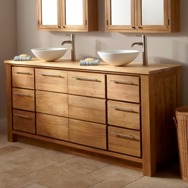 Double Bowl Bathroom Vanity