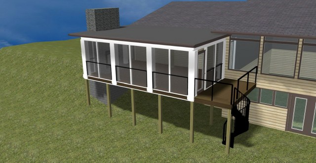 Flat Roof Screened Porch