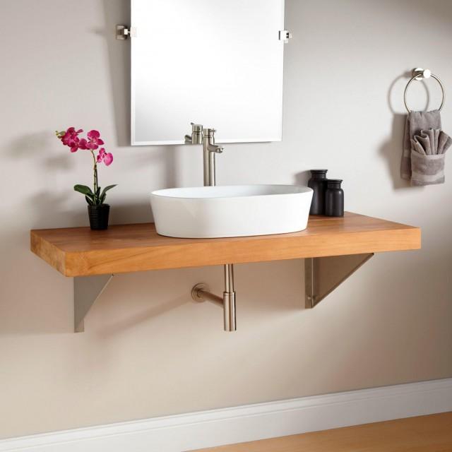 Floating Teak Bathroom Vanity