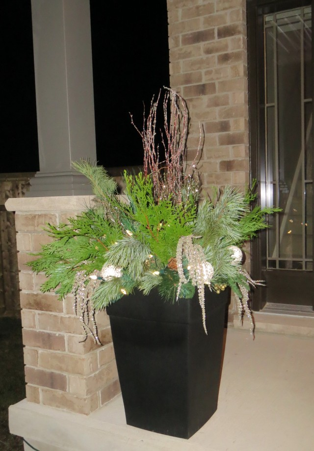 Front Porch Pots For Christmas