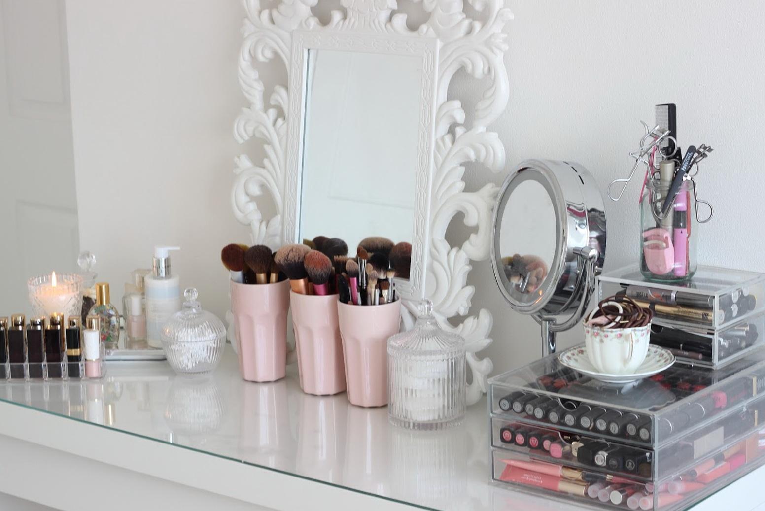 Glass Makeup Vanity Set