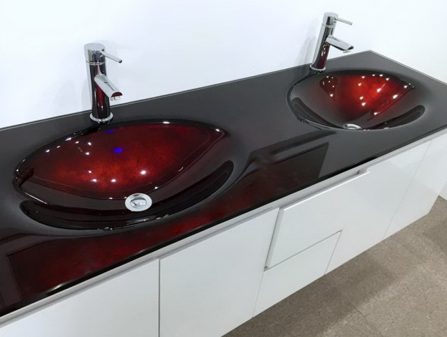 Glass Top Bathroom Vanity