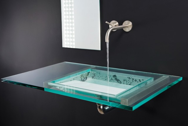 Glass Vanity Top With Integrated Sink