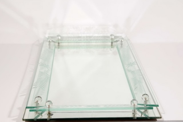Glass Vanity Tray Dresser