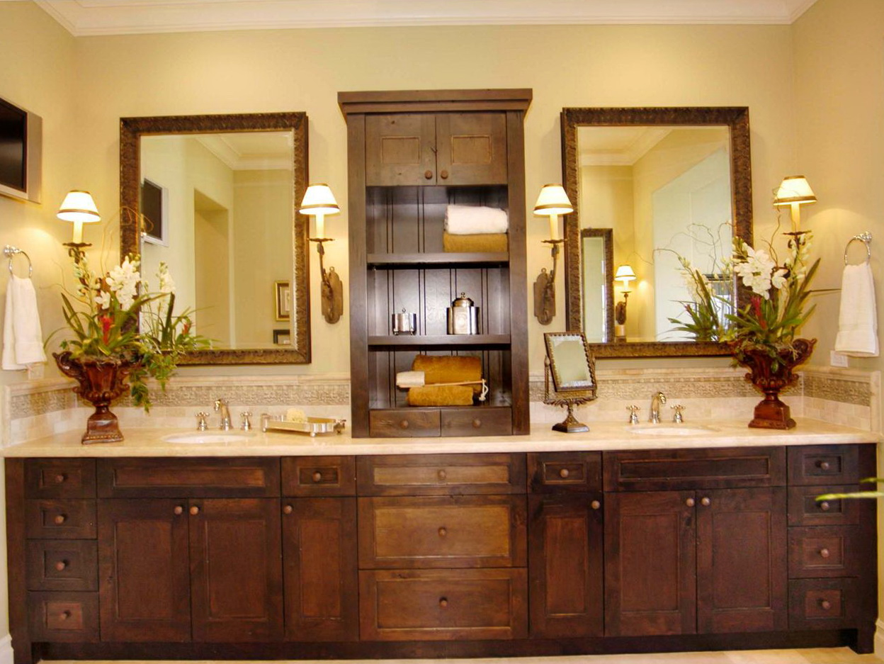 Mission Style Double Sink Bathroom Vanity