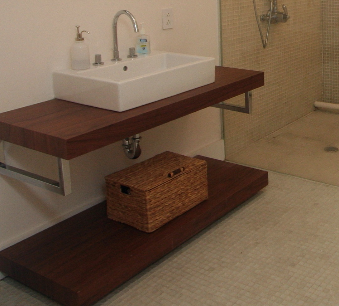 Open Bathroom Vanity With Baskets