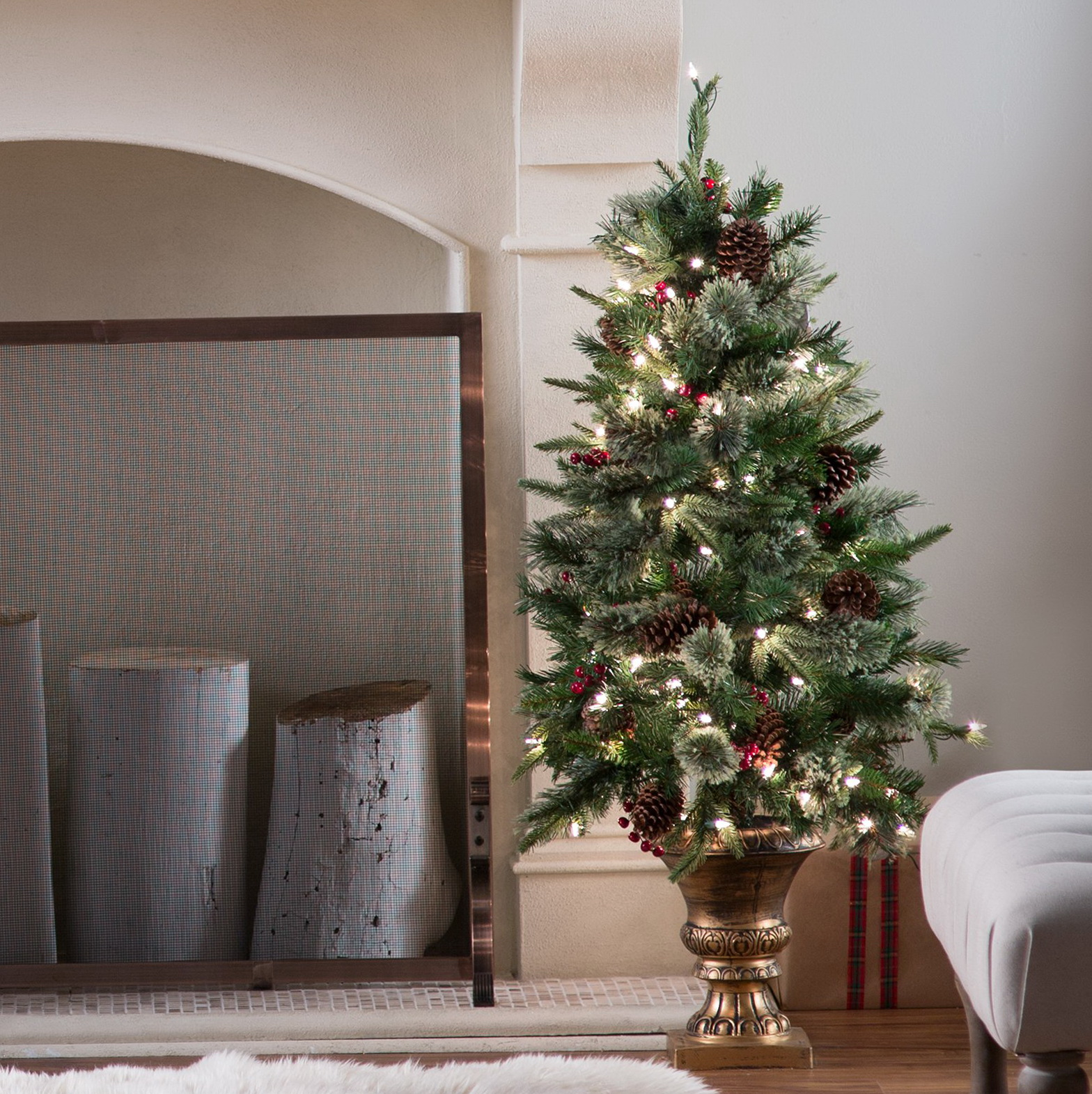 Pre Lit Potted Porch Trees