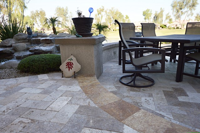 Travertine Tile Front Porch