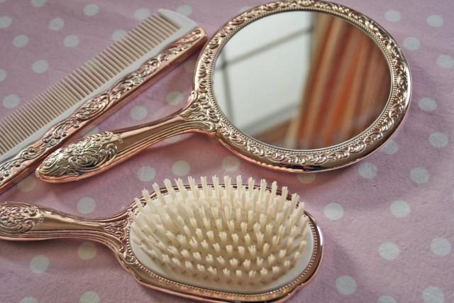 Vanity Brush And Mirror Set