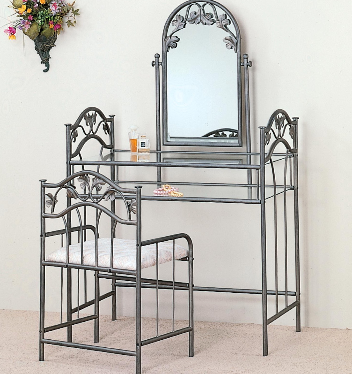 Vanity Mirror And Chair Set