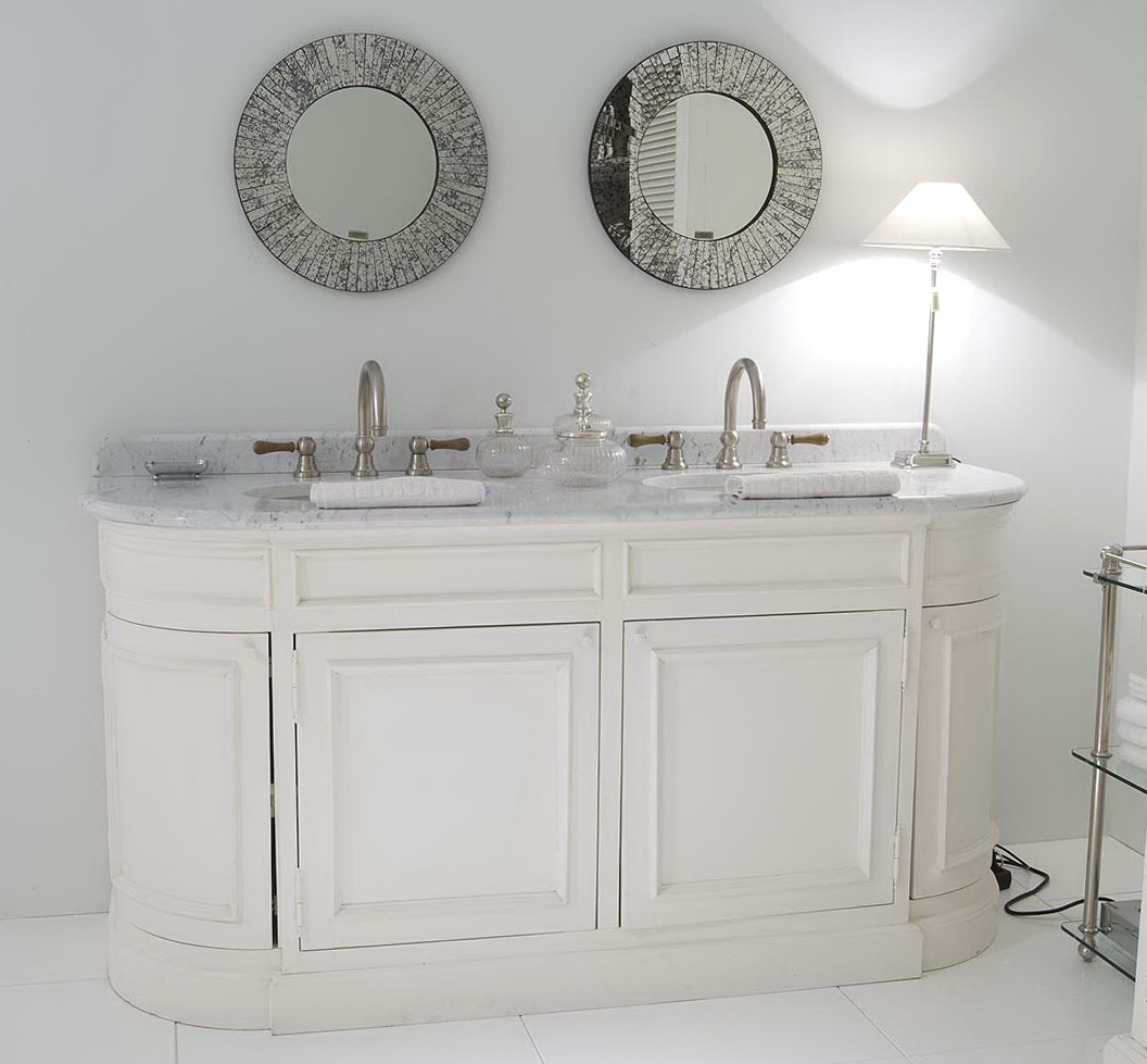White Bathroom Vanity With Grey Top