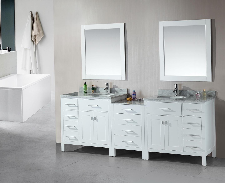White Double Sink Bathroom Vanities