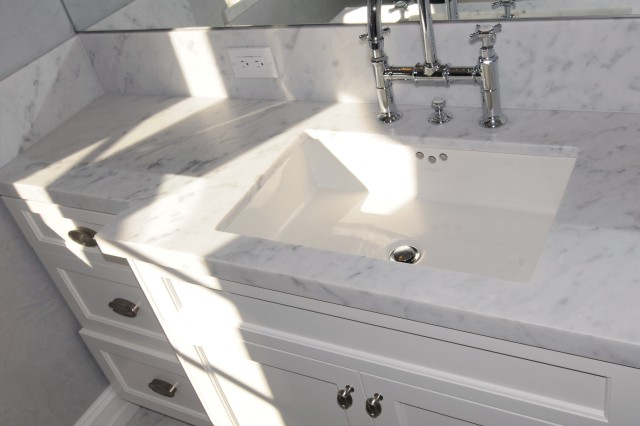White Granite Bathroom Vanity Top