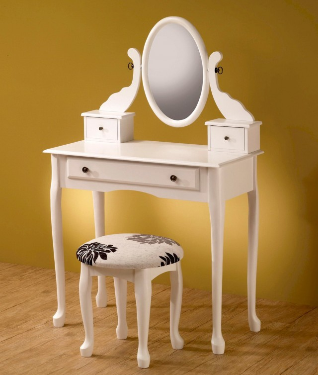 White Vanity With Mirror And Stool