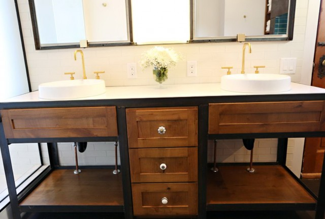 Wood And Metal Bathroom Vanity