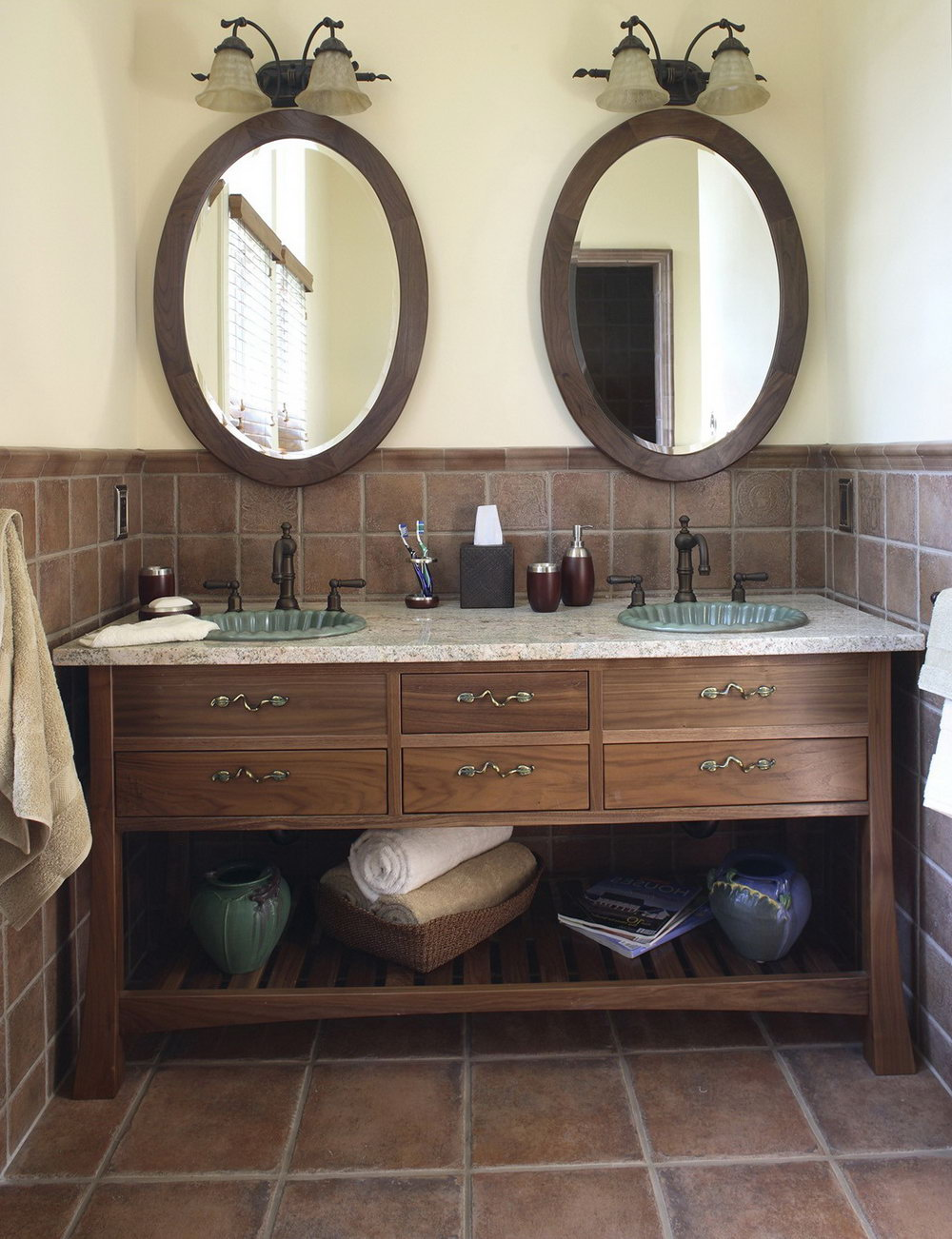 Double Vanity Oval Mirrors