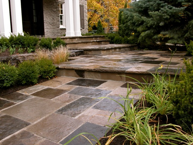 Flagstone Front Porch Steps