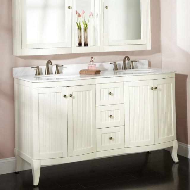 White Double Sink Vanity Top