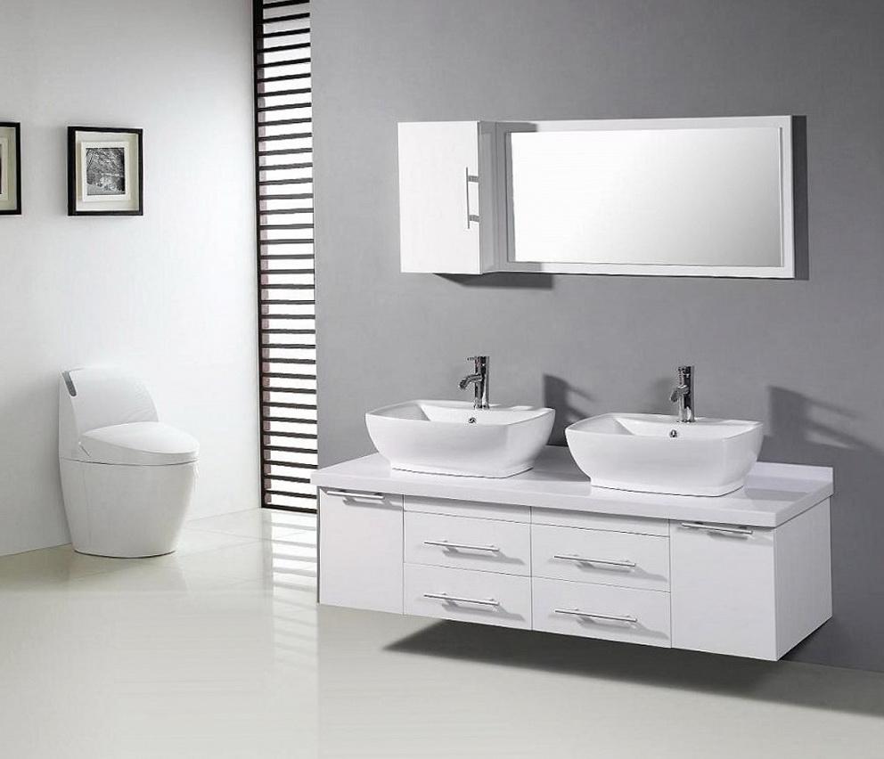 White Modern Double Sink Vanity