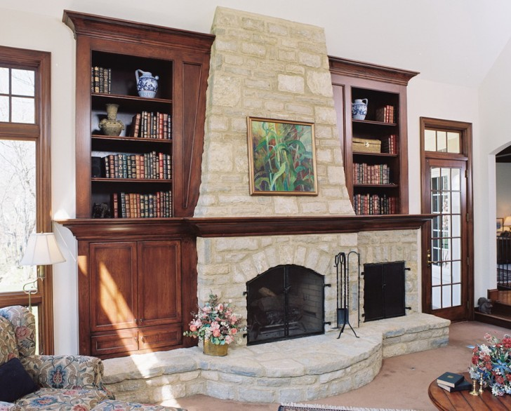 Permalink to Fireplace Designs With Bookshelves