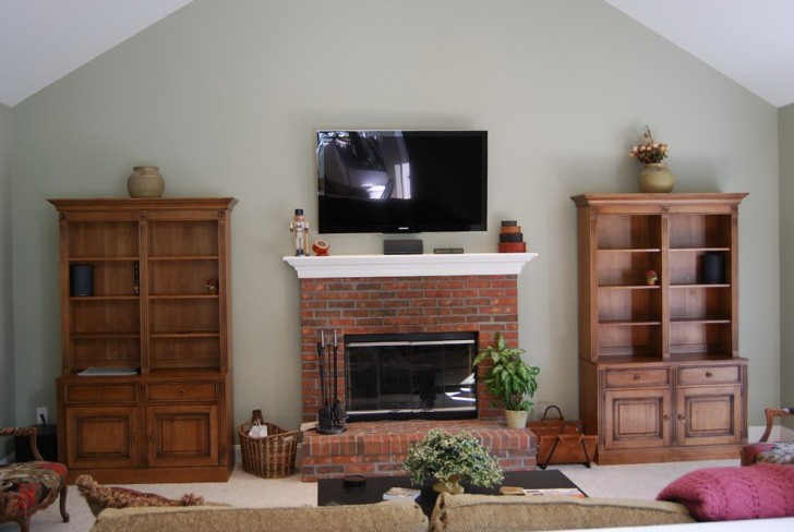 Permalink to Fireplace With Tv Above And Bookshelves