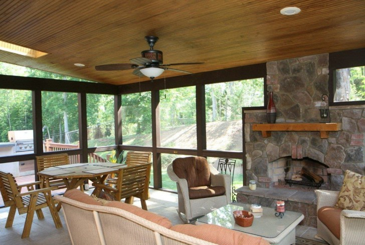 Permalink to Screened In Back Porch With Fireplace