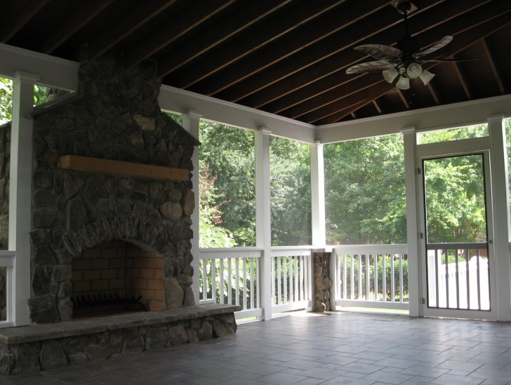 Permalink to Screened In Porch Designs With Fireplace