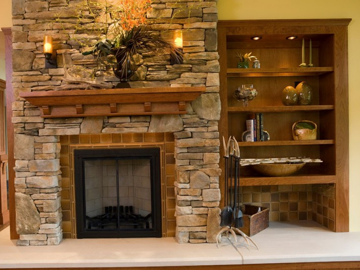 Permalink to Stacked Stone Fireplaces With Bookshelves
