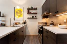 Kitchen of accessible, corner lot ADU