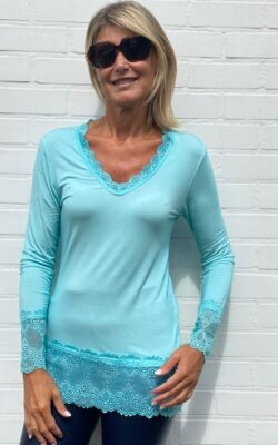 Tshirt dentelle turquoise
