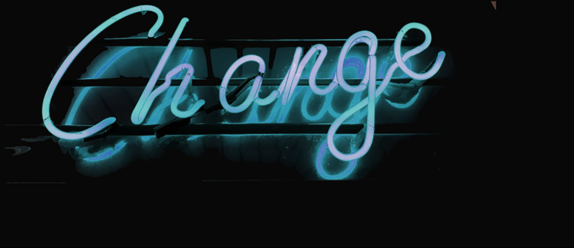 "Neon sign spelling out ""Change"""