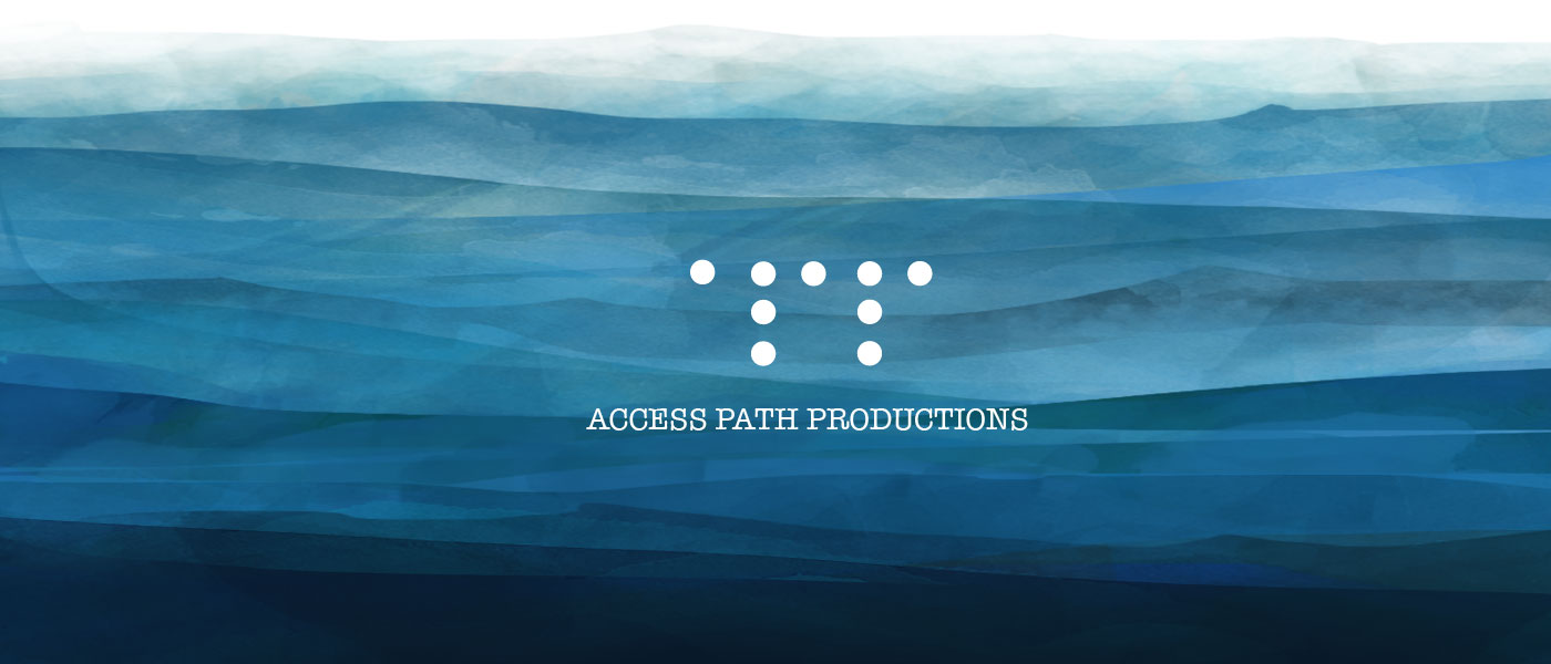 Access Path Productions logo on waves background