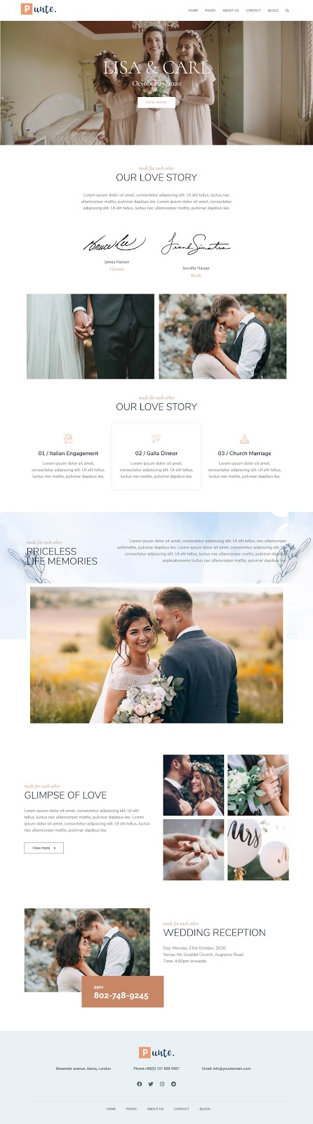 How to Make a Perfect Wedding Website using Punte - Free WordPress Theme