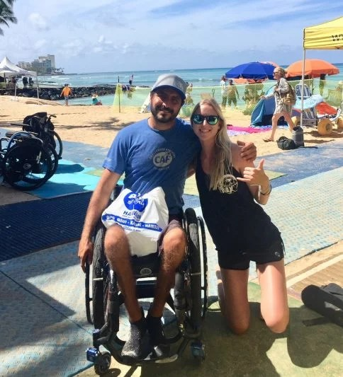 Beach Trax Hawaii adaptive surfing 2018 Felipe