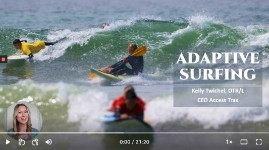 "Image shows adaptive surfers in the water on a waveski, and surfing laying down on the board with the title ""Adaptive Surfing"""