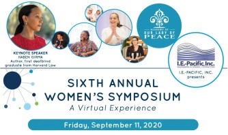 Image shows flyer for OLPs Sixth Annual Womens Symposium, a virtual experience. Friday, September 11, 2020. There are various photos of female event speakers across the top of the flyer.