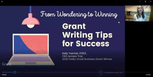 Image shows screen shot of the webinar presentation cover page. It has a dark blue background and writing: From Wondering to Winning: Grant Writing Tips for Success""