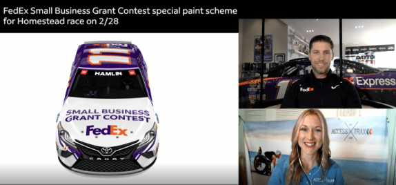 The image shows a 3-way split screen of NASCAR driver Denny Hamlin, Access Trax CEO Kelly Twichel, and a digital rendering of the front of the #11 FedEx Toyota Camry special small business paint scheme by FedEx. Denny and Kelly are smiling.