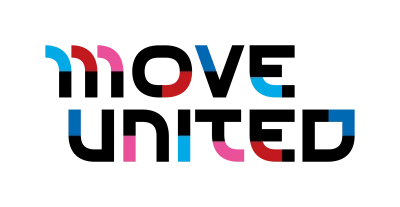 """Image shows logo for """"Move United"""" nonprofit. Letters are colored black, pink, blue, and red."""