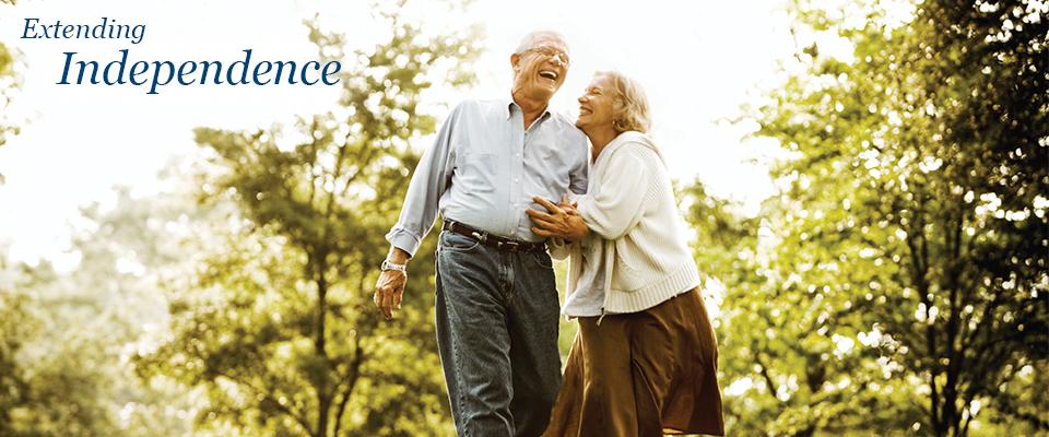 Happy Senior Couple Walking Together