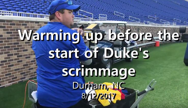 Video: Duke football players warm up before first scrimmage