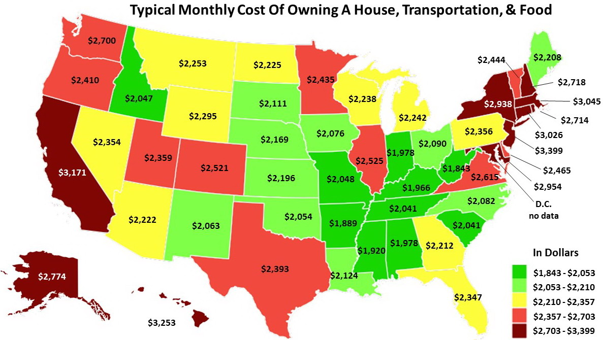 The Cost Of The Big Three Expenses By State